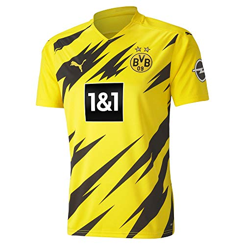 PUMA Herren T-Shirt BVB Home Shirt Replica SS w.Sponsor New, Cyber Yellow-Puma Black, L, 931114