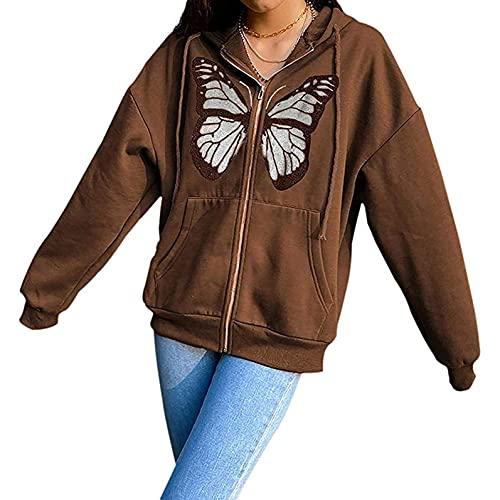 IHGWE Sudadera con capucha para mujer, de manga larga, para otoño e invierno, informal, holgada, de manga larga, con capucha, talla grande, 02 marrón., M