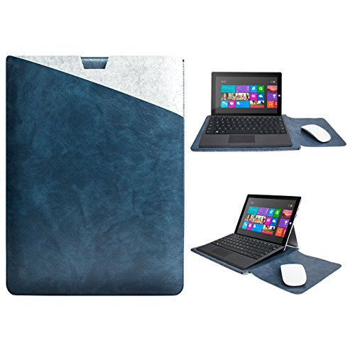WALNEW 12.3-Inch Surface Pro Sleeve Case for Surface Pro 7, Surface Pro 6, Surface Pro 5, 2017 Surface Pro, Surface Pro 4, Surface Pro 3 Soft Tablet Cover Dual Pocket Design Pouch, Darkblue