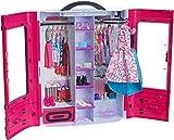 Barbie Fashionistas dressing rose à la taille de la poupée, transportable et fourni avec plus de 15 accessoires, jouet pour...