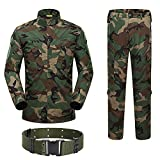 H World Shopping Military Tactical Mens Hunting Combat BDU Uniform Suit Shirt & Pants with Belt Woodland Camo (S)