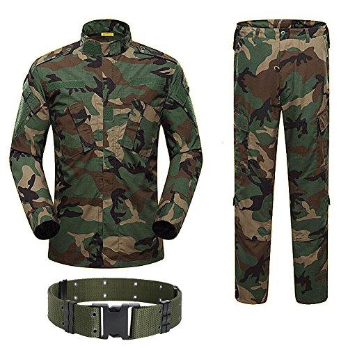 H Welt EU Military Tactical Herren Jagd Combat BDU Uniform-Shirt und Hose mit Gürtel S WLD
