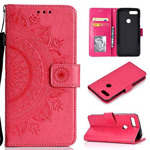 SNOW COLOR Coque [Xiaomi Mi 8 Lite] Portefeuille, en Cuir Flip Case pour Bumper Protecteur Magnétique Fente Carte Housse Cover Coque pour Xiaomi Mi8 Lite - COHH051419 Rouge