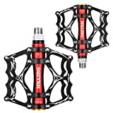 """Lypeat 3 Bearings Mountain Bike Pedals Platform Bicycle Flat Alloy Pedals 9/16"""" Pedals"""