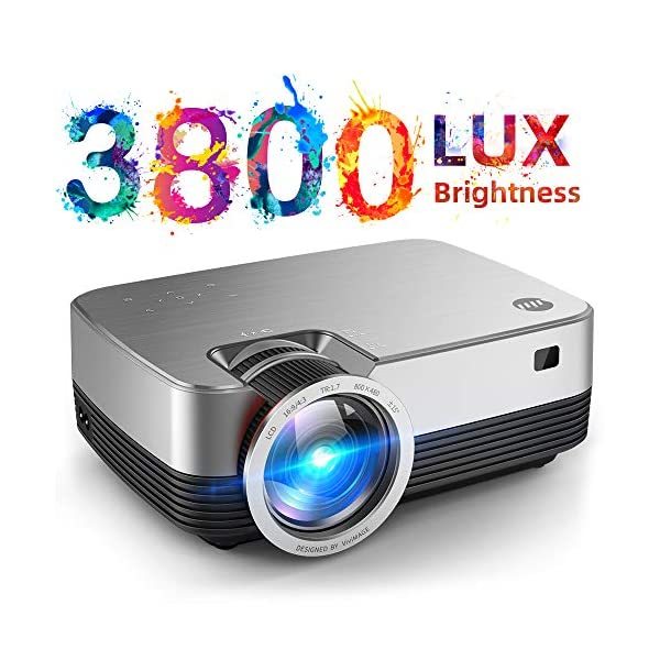 "VIVIMAGE C480 Mini Projector, 3800 Lux 1080P Supported and 170"" Display Portable..."
