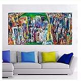 Suuyar Paisaje Pintura al óleo Manhattan Panorama Lienzo Arte Pared Cuadros para Sala de Estar decoración del hogar Impreso -70x140 cm sin Marco