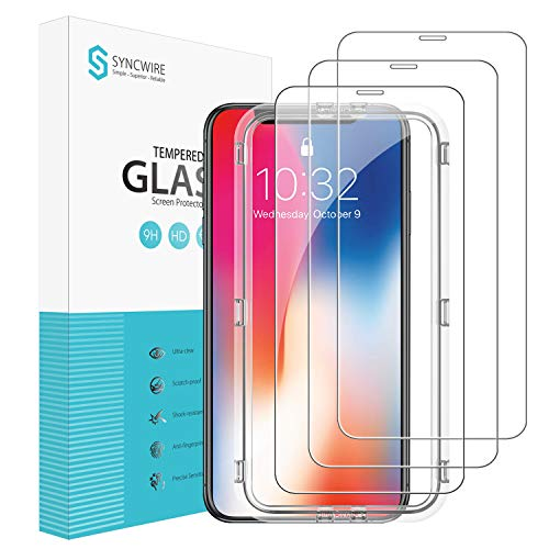 Protector Pantalla iPhone XS/X Syncwire - [Pack de 3, Diseño de Protección Total Compatible con Face ID] Cristal Templado HD con Dureza 9H para iPhone X/XS/10/10S [Anti-Burbujas, Fácil Instalación]