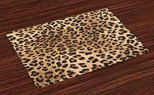 ABAKUHAUS Leopard Print Placemat Set van 4, Wild Animal Skin, Wasbare Stoffen Placemat voor Eettafel, Pale Brown Black