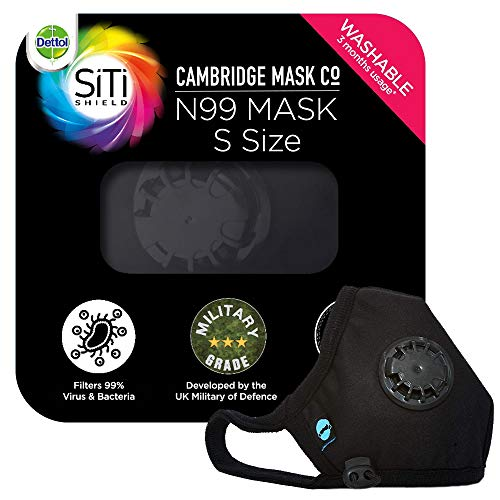 Dettol Cambridge N99 Mask for Protection from Virus, Bacteria, Pollution – Reusable, Washable, with Breathing Valve (Black, Small)