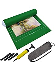 BangShou Puzzle Roll Mat Puzzle Blanket Mat Up To 1500 Pieces Folding Mat for Puzzle with Inflatable Pump (Green)