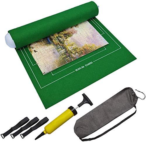 BangShou Puzzle Roll Fieltro Puzzles Tapete Puzzle Mat Felt Mat Play Mat Puzzles Blanket para 1500 Piezas Puzzles Puzzle y Roll up (Verde)