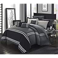 Perfect home 10 Piece Farah Supersoft Oversized Pieced Color Block Banding Collection Queen Bed in a Bag Comforter Set Grey with Sheet Set