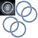 Anourney 4PCS Blue Bling Crystal Rhinestone Car Engine Ignition Button Ring, Car Emblem Sticker, Girly Car Interior Accessory Decoration for Push to Start Button Cover, AC Control Knob,Car Shift Cover