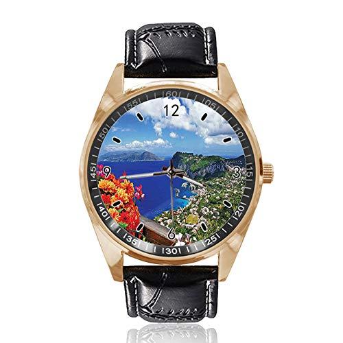 Mountain Houses Flowers Custom Design Wrist Watch Analog Quartz Gold Dial...