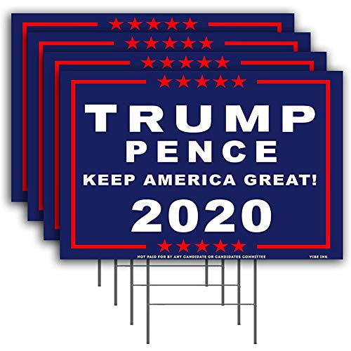 President Trump Yard Sign, 2020 President Election Large Corrugated Plastic Yard Sign'Keep America Great' with H-Frame Stake, UV and Weather Resistant Waterproof Sign for Lawn, Patio