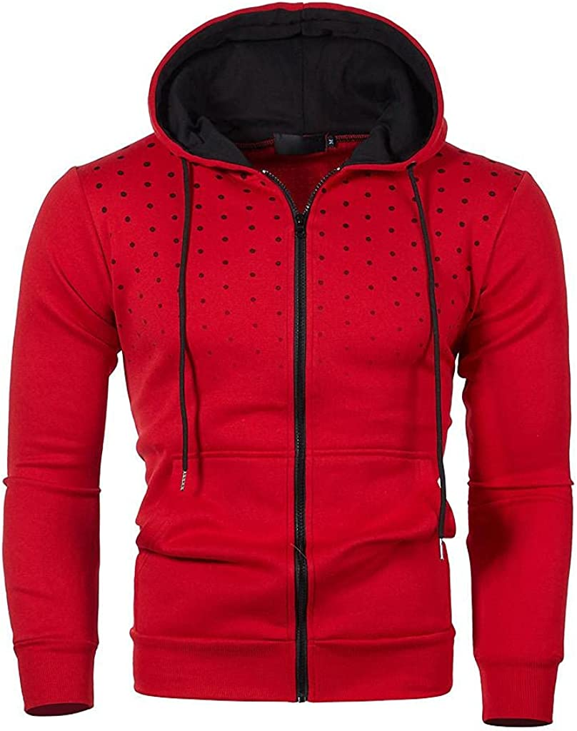 Qsctys Men's Hoodies Zip Up Polka Dots Pullover Lightweight Slim Fit Hooded Sweatshirts Athletic Casual Fashion Sport