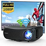 1080P Full HD Movie Projector WiFi Bluetooth 2021 LED 7200lumen Support 4K Outdoor Entertainment Projectors Wireless Screen Cast for iPhone Smartphone, Compatible with HDMI USB TV Stick Netflix
