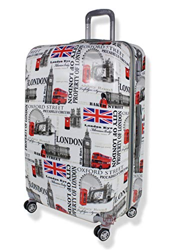 Light Weight Hard Shell Spinner 4 Wheel PC London Printed Suitcases Luggage PC60 (Large 29' (H79xW50xD31cm))