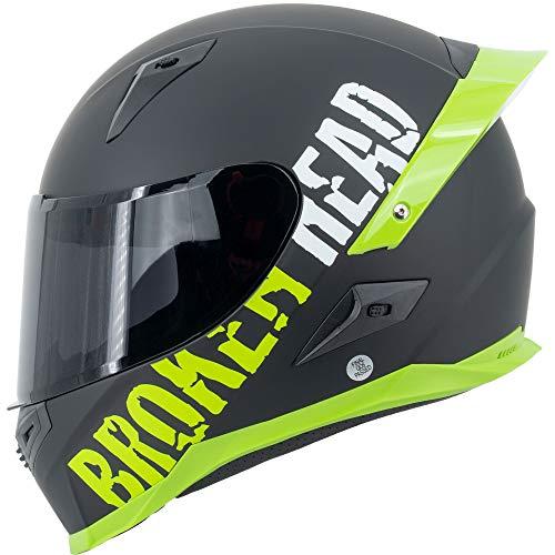 Broken Head BeProud Pro Grün - Motorradhelm Mit Spoiler & Schwarzem Zusatz-Visier, Limited Edition - Gr. S (55-56 cm)