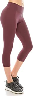 Women High Waisted Capri Leggings - Premium Buttery Soft Stretch Solid Basic Yoga Workout Pants