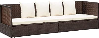 vidaXL Outdoor Lounge Bed with Cushion & Pillows Poly Rattan Brown