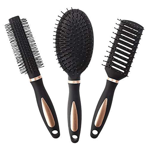 INHEMI Haarbürsten Set – Haarbürste, Rundbürste, Skelettbürste – für dünnes & dickes Haar