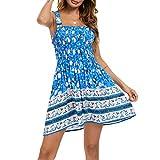 Timathous Women's Cover Up Tie Shoulder Frill Smocked High Waist Dresses Tube Top Beach Mini Dress 6605 (XL, Blue Pink)