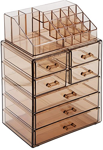 Sorbus Cosmetic Makeup and Jewelry Storage Case Display - Spacious Design - Great for Bathroom, Dresser, Vanity and Countertop (3 Large, 4 Small Drawers, Bronze Glow)
