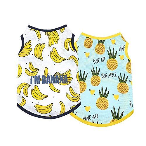 Yikeyo Set of 2 Dog Clothes for Small Dog Boy Girl Summer Pet Puppy Hawaiian Shirt for Chihuahua Yorkie Cute Fruit Banana Pineapple Patterns Tshirts Outfits (X-Large, Banana + Pineapple)