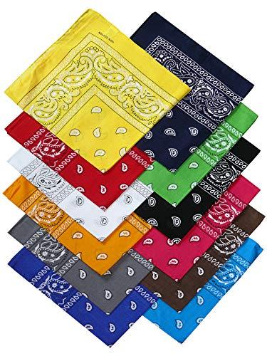 Harrys-Collection Unisex Bandana Bindetuch 100% Baumwolle (1 er 6 er oder 12 er Pack), Farbe:12x gemischt