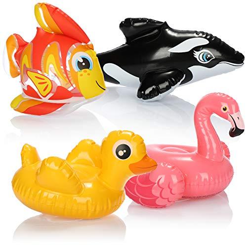 com-four® 4X Badespielzeug für Kinder ab Zwei Jahren - Schwimmtier aufblasbar - Wasserspielzeug für die Badewanne - Badewannenspielzeug