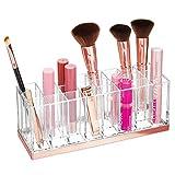 mDesign Funzionale organizer cosmetici – Pratico contenitore per prodotti cosmetici come smalti e rossetti – Porta trucchi con 24 scomparti – trasparente e oro rosato
