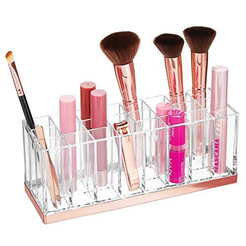 mDesign praktischer Kosmetik Organizer – dekorative Kosmetik Aufbewahrungsbox für Nagellack und Lippenstift – Ablage mit 24 Fächern zur Schminkaufbewahrung – durchsichtig und rotgold