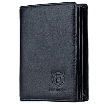 Bullcaptain Large Capacity Genuine Leather Bifold Wallet/Credit Card Holder for Men with 15 Card Slots QB-027  Black