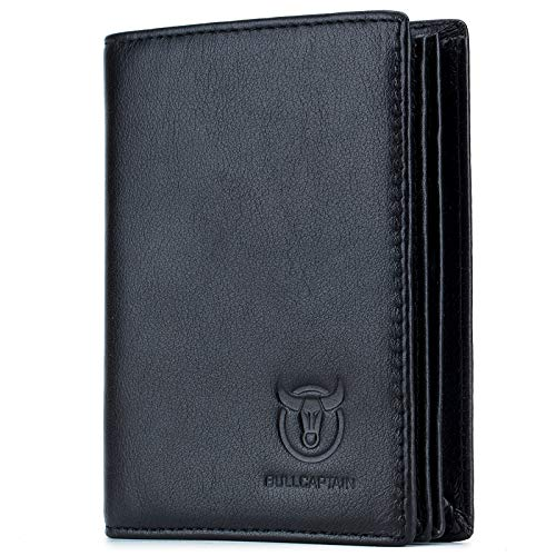 Bullcaptain Large Capacity Genuine Leather Bifold Wallet/Credit Card Holder for Men with 15 Card Slots QB-027 (Black)