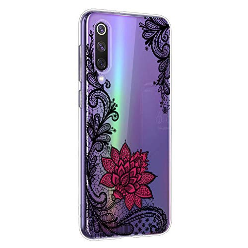 Oihxse Mandala Motif Case Compatible pour Huawei Mate 20 Coque Transparente Silicone TPU Souple Protection Etui Ultra Slim Mehndi Floral Datura Dentelle Housse Bumper (A5)