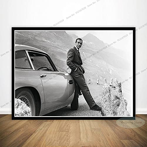 meishaonv Sean Connery Attore cinematografico James Bond 007 with Guns Poster Art Canvas Painting Picture for Living Room Home Decor A2257 50 × 70 cm Senza Cornice