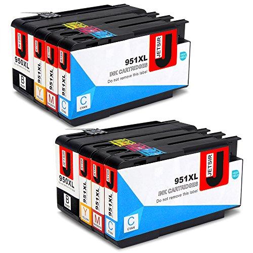 JETSIR Ersetzt für HP 950XL 951XL Druckerpatronen (2 Schwarz, 2 Blau, 2 Rot, 2 Gelb) mit hoher Reichweite für HP Officejet Pro 8600 8610 8620 8630 8640 8100 8625 8615 8660 251dw 276dw 271dw