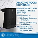 Medify Air MA-14-B1 Air Purifier with H13 HEPA filter - a higher grade of HEPA for 200 Sq. Ft. (99.9%) Allergies, dust… 9 Medical Grade H13 True HEPA Filter (higher rated than True HEPA) 99.97% particle removal CADR of 120 | Cleans up to 470 sq. ft.in an hour. 235 sq. ft. in 30 minutes. 117 sq. ft. in 15 minutes | Perfect for Office, Bedroom, Dorms, Baby Nurseries 3 Fans Speeds | Night Light | Sleep Mode