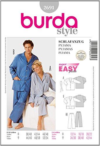 Burda Schnittmuster 2691 Pyjama f?r Sie & Ihn Gr. D 38/40-46/48, H 44/46-52/54