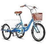 EURYTKS Pedal Ciclismo Bicicleta Triciclos para Adultos Cesta Grande Bicicleta de Tres Ruedas Bicicleta de 3 Ruedas para Picnic, Compras, Trabajo, Hombres y Mujeres (Color: Azul)