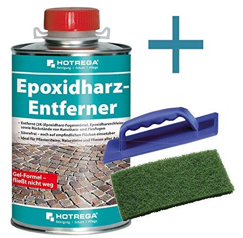 HOTREGA Epoxidharz Entferner Epoxidharz Entfernung Innen und Außen 1 L + Handpad Halter + Handpad