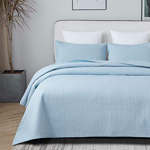 VEEYOO Quilt Set Queen Size Baby Blue - Lightweight Soft Coverlet Set for All Seasons, 3 Pieces Sets Bedspreads Queen Size, (1 Quilt 92'x92', 2 Pillow Shams)