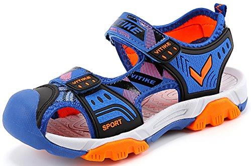 Chicos Sandalias Verano Playa Zapatillas Al Aire Libre Deportes Zapato (Niñito/Niño pequeño/Niños grandes-Azul-35)