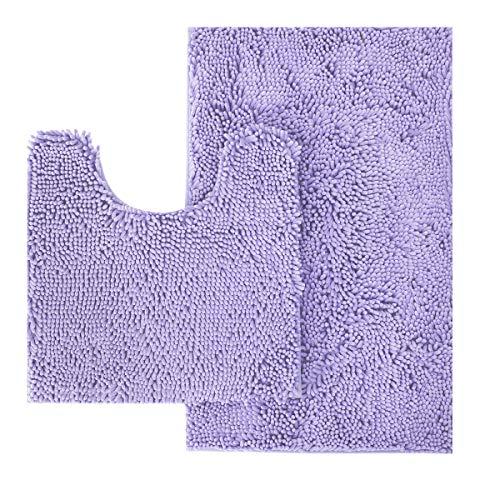 MAYSHINE Bathroom Rug Toilet Sets and Shaggy Non Slip Machine Washable Soft Microfiber Bath Contour Mat (Lavender, 32x20 / 20x20 Inches U-Shaped)