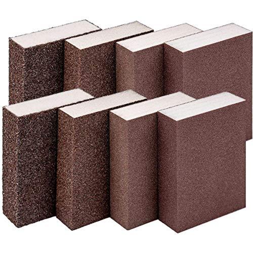 Osuter 8PCS Esponja de Lijar Mojado y Seco Esponja Abrasiva Duradero para Lijar Cocina Madera Pared Muebles(superfino/fino/medio/grueso)