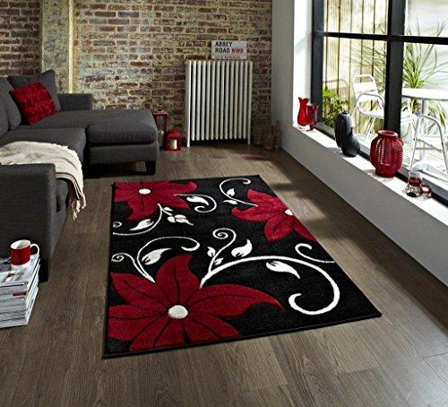 Rugs Direct Tapis en polypropylène Noir/Rouge 160 x 220 cm