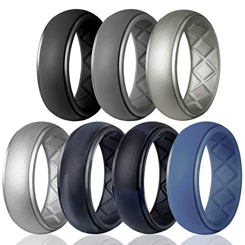 Egnaro Silicone Wedding Ring for Men, Particularly Breathable Mens' Rubber Wedding Bands, Size 8 9 10 11 12 13, for Athletes Crossfit Workout (Platinum D-shape Wedding Ring)