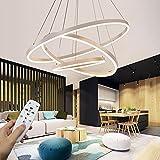 Lámpara colgante LED moderna, colección de 3 anillos Pintura blanca, lámpara colgante ajustable Lámpara de techo moderna, regulable 2700K - 6500K, con control remoto - 78W