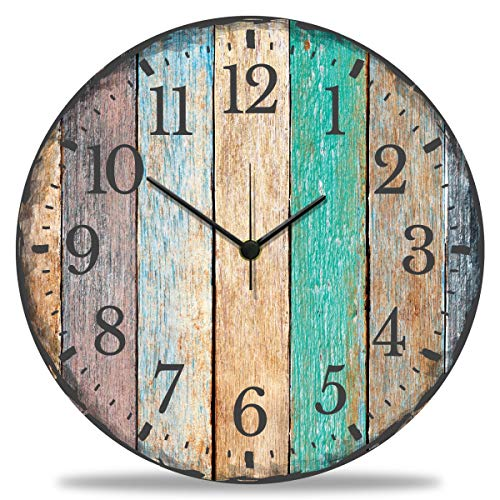 GRAVURZEILE Wanduhr aus Holz Vintage Summer - 100% Lautlos kein Ticken absolut geräuschlos - 30 cm Ø - Design Wanduhren für Wohnzimmer Schlafzimmer & Küche